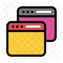 Multiple Window Colored Outline Icon