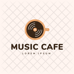 Music Cafe Colored Outline  Logo Icon