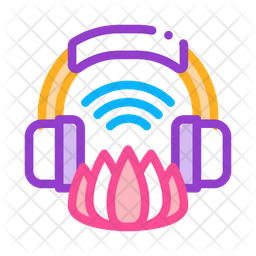 Music Meditation Colored Outline Icon