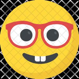 Nerd Face Flat Icon