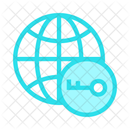 Network key Colored Outline Icon