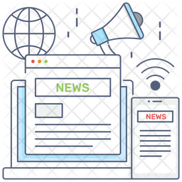 News Media Colored Outline Icon