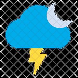 Night Lightning Flat Icon