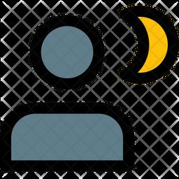 Night Portrait Colored Outline Icon