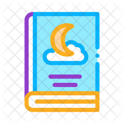 Night Story Book Colored Outline Icon