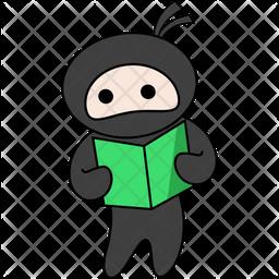 Ninja Reading Sticker Icon
