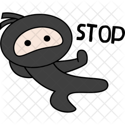 Ninja Say Stop Sticker Icon