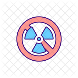 No Radiation Sign Colored Outline Icon