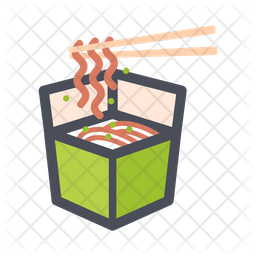 Noodles Bowl Colored Outline Icon
