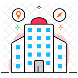 Office Location Colored Outline Icon