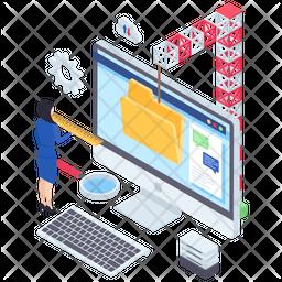 Online Data Storage Isometric Icon