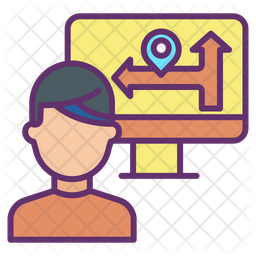 Online Direction Colored Outline Icon