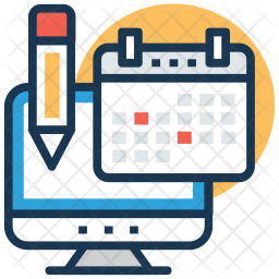 Online event planner Icon of Colored Outline style ...