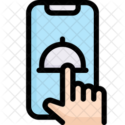 Online Food Colored Outline Icon