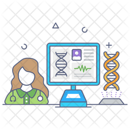 Online Genetics Colored Outline Icon