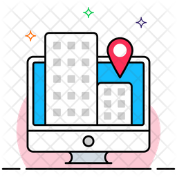 Online Market Location Colored Outline Icon