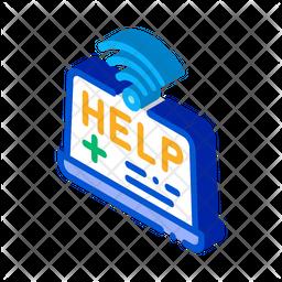 Online Medicine Help Isometric Icon
