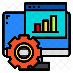 Online Project Analysis Colored Outline Icon