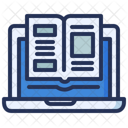 Online Reading Colored Outline Icon