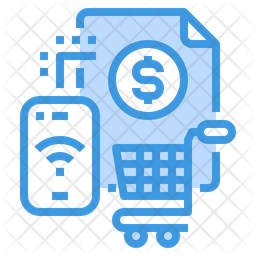Online Shopping Receipt Colored Outline Icon