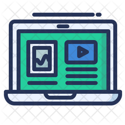 Online Tuorial Colored Outline Icon