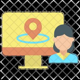 Online User Location Flat Icon