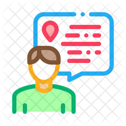 Online User Location Colored Outline Icon