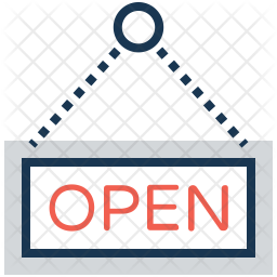 Open signboard Colored Outline Icon