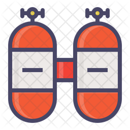 Oxygen cylinder Colored Outline Icon