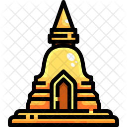 Pagoda Colored Outline Icon