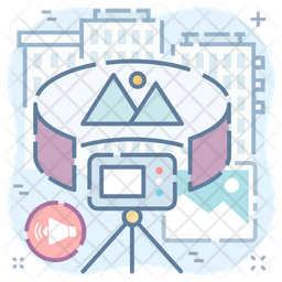 Panorama Video Colored Outline Icon