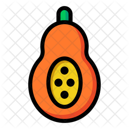 Papaya Colored Outline Icon