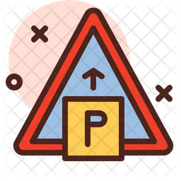 Parking Signboard Colored Outline Icon