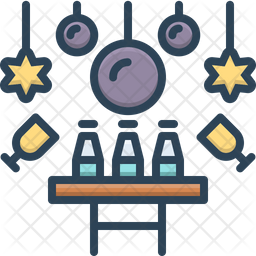 Party Table Colored Outline Icon