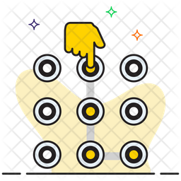 Pattern Lock Colored Outline Icon