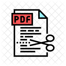 Pdf Cutting Colored Outline Icon