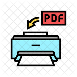 Pdf Printing Colored Outline Icon