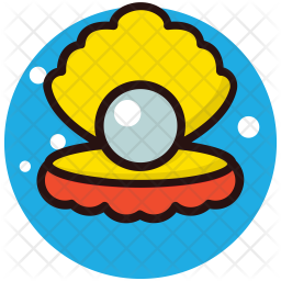 Pearl In Shell Colored Outline Icon