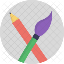 Pencil and Brush Flat Icon