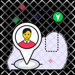 Person Location Colored Outline Icon