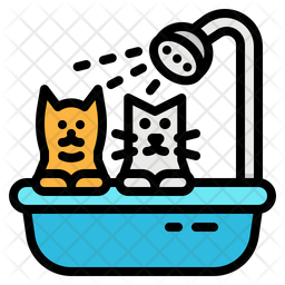 Pet Grooming Colored Outline Icon
