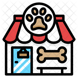 Pet Shop Colored Outline Icon