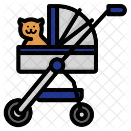 Pet Stroller Colored Outline Icon