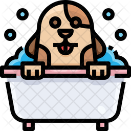 Pet Washing Colored Outline Icon