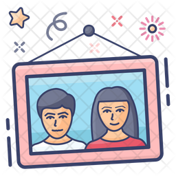 Photo Frame Colored Outline Icon