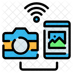 Photo Transfer Colored Outline Icon