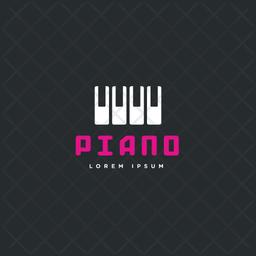Piano Logo Colored Outline Icon