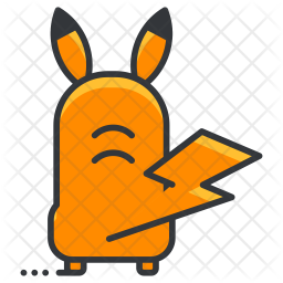 Pickachu Colored Outline Icon