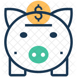 Piggy Banking Colored Outline Icon