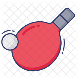 Ping Pong Colored Outline Icon